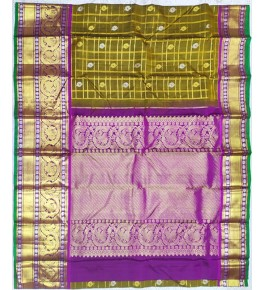 Handloom Molakalmuru Pure Silk Mehndi Saree For Women