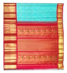 Handloom Molakalmuru Pure Silk Beautiful Red & Turquoise Saree For Women