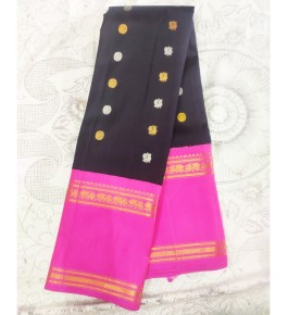 Handloom Molakalmuru Pure Silk Black & Pink Saree For Women