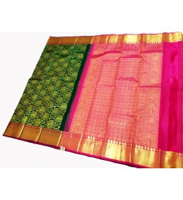 Kancheepuram Silk  Wedding Pure Silk Dark Green Saree For Women & Girls By Sri Sarvalakshmi Silk Sarees