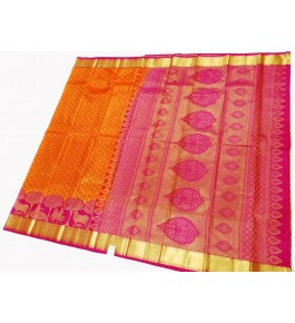 Kancheepuram Silk  Wedding Pure Silk Pale Orange Saree For Women & Girls By Sri Sarvalakshmi Silk Sarees