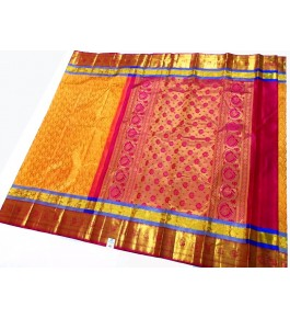 Kancheepuram Silk  Wedding Pure Silk Dark Yellow Saree For Women & Girls By Sri Sarvalakshmi Silk Sarees