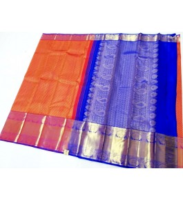 Kancheepuram Silk  Wedding Pure Silk Orange Saree For Women & Girls By Sri Sarvalakshmi Silk Sarees