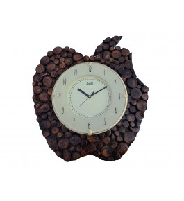 Wooden Traditional Antique Apple Shape Wall Clock By Shakir Rabbani Wood Handicraft