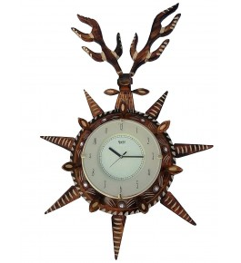 Wooden Traditional Antique Deer Shape Wall Clock By Shakir Rabbani Wood Handicraft
