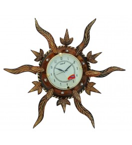 Wooden Traditional Antique Sun Shape Wall Clock By Shakir Rabbani Wood Handicraft