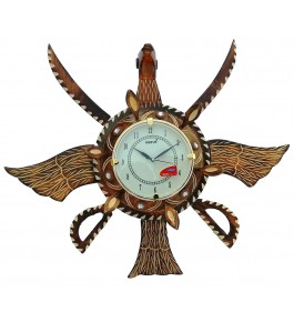 Wooden Traditional Antique Piece Eagle Shape Wall Clock By Shakir Rabbani Wood Handicraft