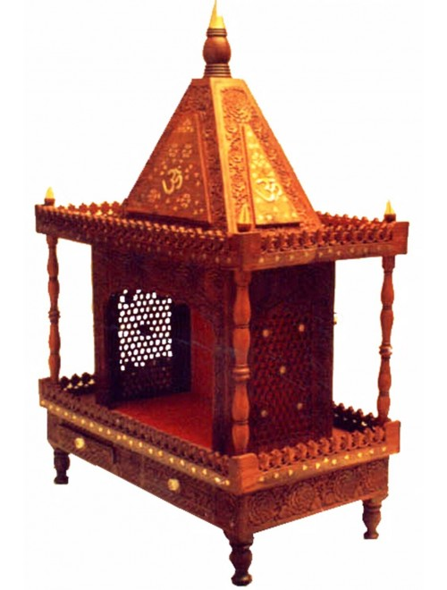 Shilpi Handicraft Rosewood (Sheesham) Large Wooden Temple/Pooja Ghar/Wooden Mandir
