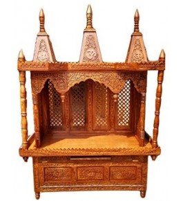 Shilpi Handicraft Traditional Wooden (Sheesham Wood) Temple/Pooja Ghar/Wooden Mandir