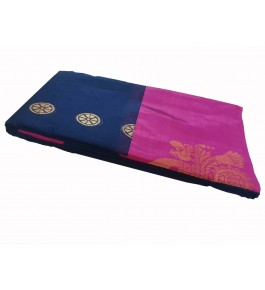 Salem Silk Cotton Deep Blue Saree With Zari Pallu For Women