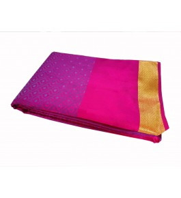Salem Silk Soft & Embossed Saree With Double Side Border & Contrast Pallu For Women