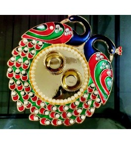 Handmade Beautiful Peacock Shaped Puja Thali For Puja & Diwali By Indian Festival Product & Gift Items