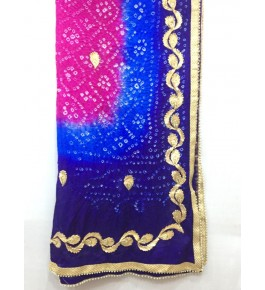 Rajasthan Phulkari Embroidery Georgette Multicolor Dupatta For Women By Jahnvi Creation