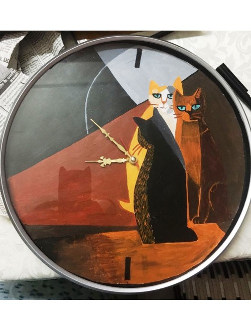 Beautiful Acrylic Cats Printed Wall Clock For Decor By Purple Haze