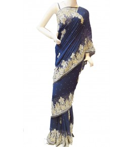 Lucknow Zardozi Georgette Blue Saree For Women By New Gunjan Boutique