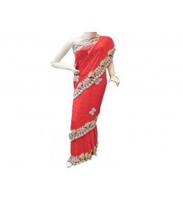 Lucknow Zardozi Georgette Red Saree For Women By New Gunjan Boutique