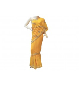 Lucknow Zardozi Georgette Yellow Saree For Women By New Gunjan Boutique