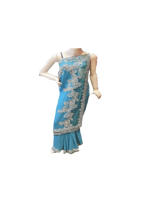 Lucknow Zardozi Georgette Turquoise Saree For Women By New Gunjan Boutique
