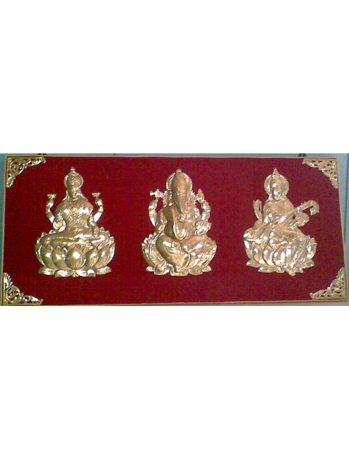 Pembarthi Metal Craft Lord Laxmi, Ganesh, Saraswati Brass Wall Hanging