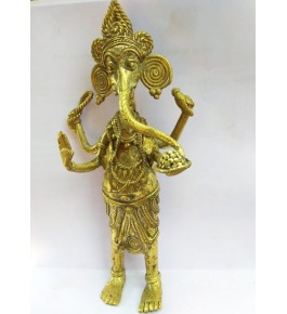 Handmade Bastar Iron Craft Brass Lord Ganesha Idol