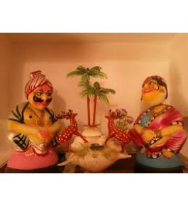 Hand Crafted Wooden Clay Pair Kondapalli Toys By Surya Prakash