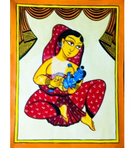 Bengal Patachitra Painting of a Lady with Lord Krishna by Susnova Chitrakar