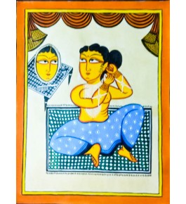 Bengal Patachitra Painting of a Beautiful Lady by Susnova Chitrakar