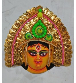Handmade Traditional Purulia Chau Goddess Face Design Mask