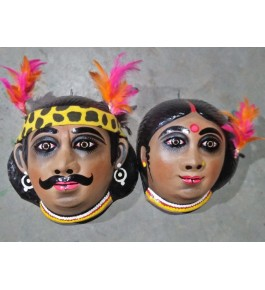 Handmade Purulia Chau Adivasi Couple Design Face Mask