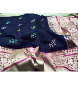 Beautiful Handloom Banarasi Silk Dark Blue Colour Brocades & Saree For Women