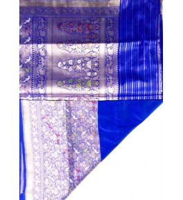 Handloom kadiyal Silk Blue Banaras Brocades & Saree For Women