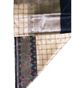 Handloom Banaras Brocades & Saree Kadiyal Black Silk For Women