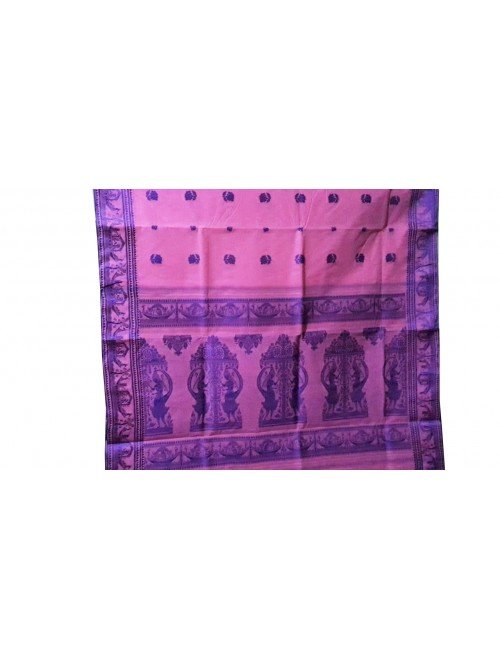 Handloom Dhaniakhali Cotton Pink Saree For Women