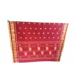 Handloom Dhaniakhali Cotton Red Saree For Women