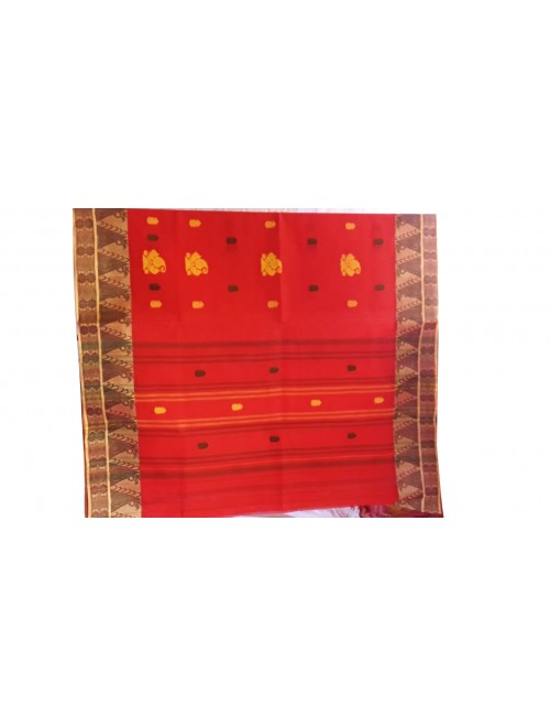 Handloom Dhaniakhali Cotton Orange Saree For Women