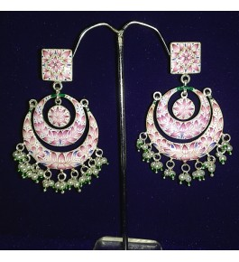 Banaras Gulabi Meenakari Craft Silver Earring For Women