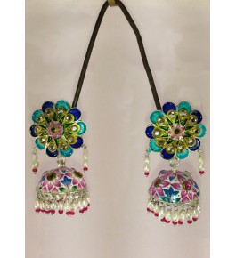 Banaras Gulabi Meenakari Craft Silver Jhumka For Women