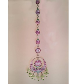 Banaras Gulabi Meenakari Craft Silver Maang Tikka For Women