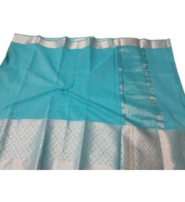 Handloom Banarasi Silk Turquoise Zari Saree By Loolu Silk Craft