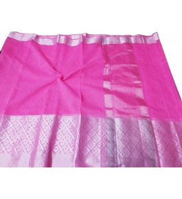 Handloom Banarasi Silk Pink Zari Saree By Loolu Silk Craft
