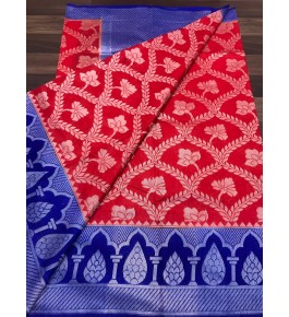 Handloom Banarasi Silk Red Saree By Loolu Silk Craft