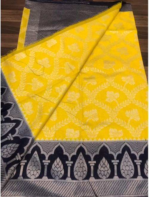 Handloom Banarasi Silk Yellow Saree For Women By Loolu Silk Craft