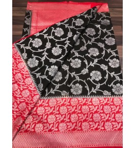 Handloom Banarasi Silk Black Saree By Loolu Silk Craft