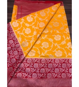 Handloom Banarasi Silk Yellow Saree By Loolu Silk Craft