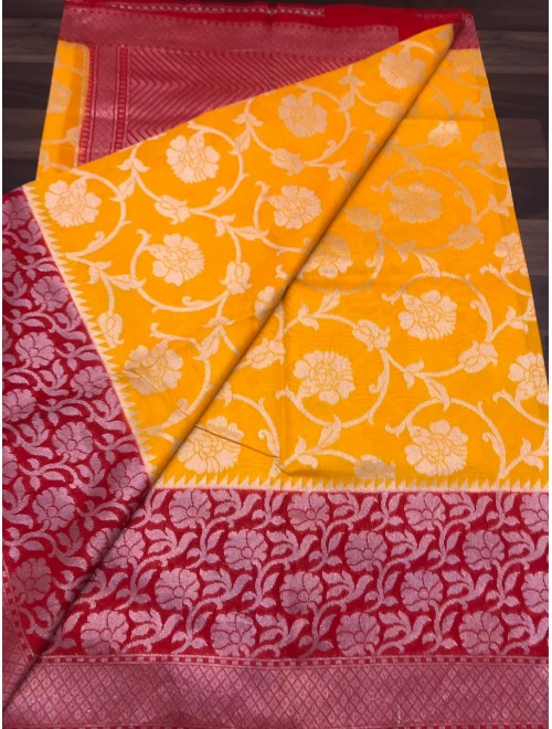 Handloom Banarasi Silk Fanta Color Saree For Women By Loolu Silk Craft