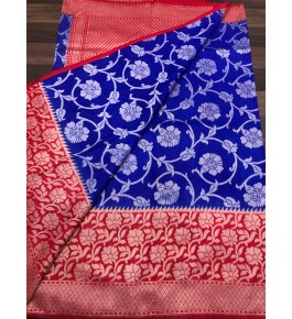 Handloom Banarasi Silk Blue Saree By Loolu Silk Craft