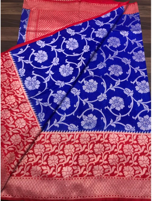 Handloom Banarasi Silk Blue Saree For Women By Loolu Silk Craft