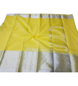 Handloom Banarasi Silk Yellow Zari Saree By Loolu Silk Craft
