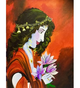 Handmade Acrylic Stretched Canvas Painting Of A Beautiful Women By Sanskriti Arts