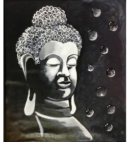 Handmade Acrylic Canvas Painting Of Lord Buddha By Sanskriti Arts